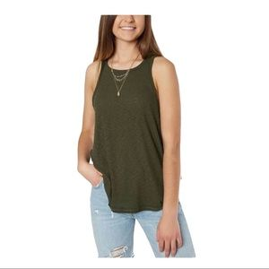 H BY BORDEAUX RIBBED KNIT TANK TOP OLIVE NWT S